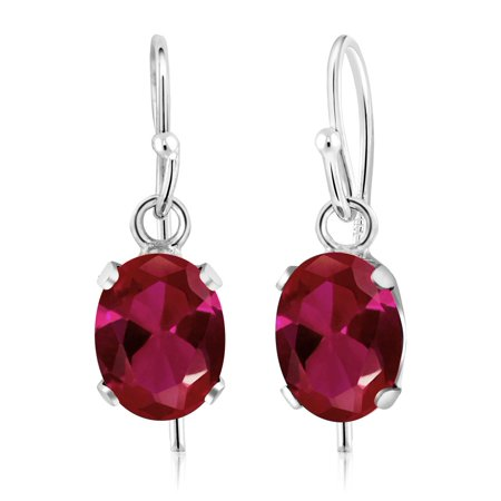 - 1.88 Ct 7x5mm Oval Red Created Ruby 925 Sterling Silver French Wire Earrings