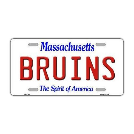 Metal Vanity License Plate Tag Cover - Boston Bruins - Hockey Team - Official Massachusetts State Plate - 12