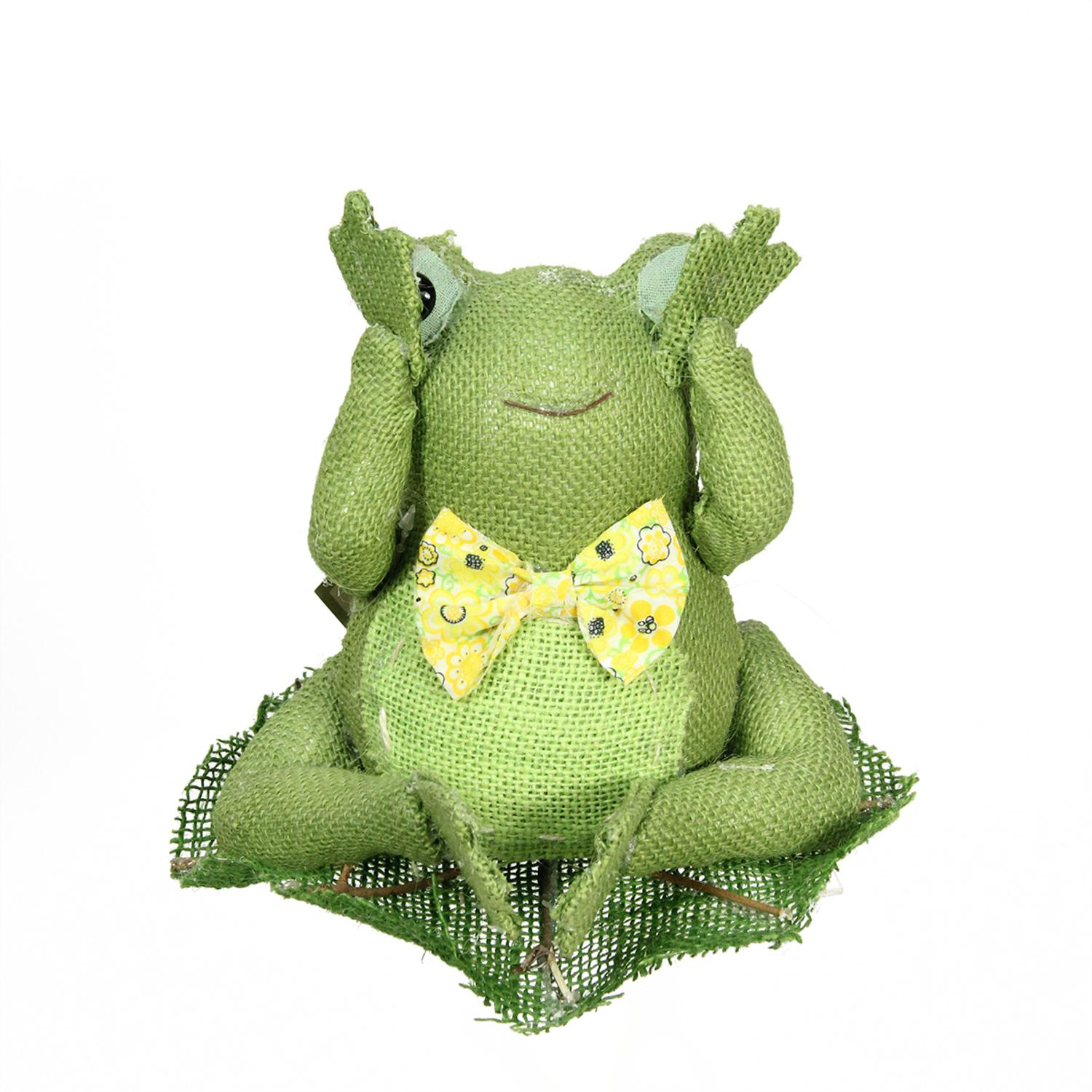 """8"""" Green Yellow and White Decorative Sitting Frog Spring Table Top Decoration"""