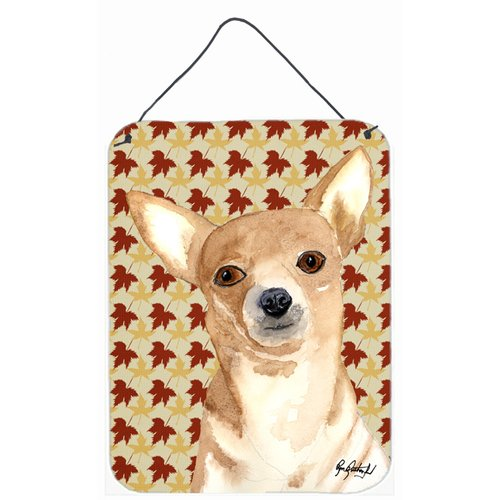 Caroline's Treasures Chihuahua Fall Leaves by Ron Rutherford Painting Print Plaque