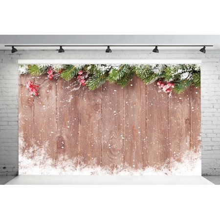 GreenDecor Polyster 7x5ft Christmas Backdrop Wood Board Theme Photography Backdrops Studio Background Studio Props (Photography Board)