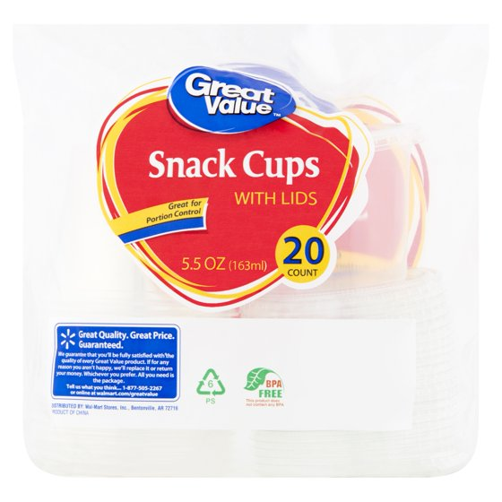 6bd2685f37a Great Value Plastic Snack Cups with Lids