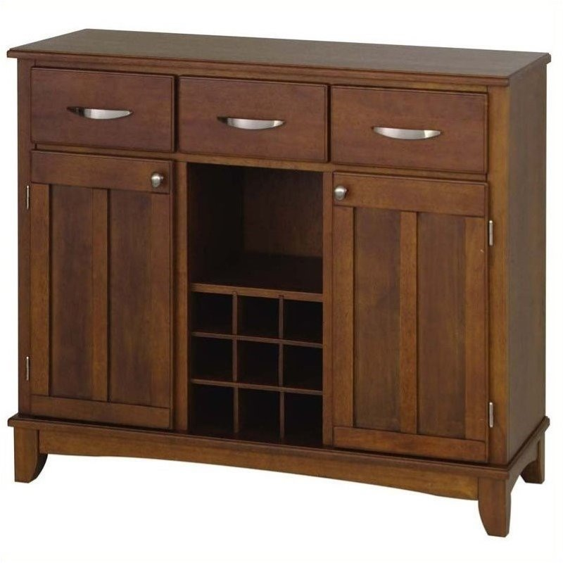 Hawthorne Collections Wood Top Wine Rack Buffet in Cherry
