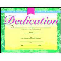Certificate-Dedication-Baby (4 Color) (8-1/2  x 11 ) (Pack Of 6)