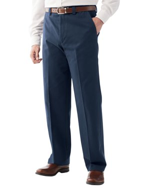 Kingsize Men's Big & Tall Wrinkle Free Expandable Relaxed Fit Plain Front Pants