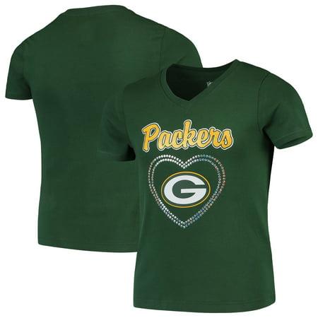 Green Bay Packers Girls Youth Heart Logo V-Neck T-Shirt - Green (Packers Shirt Girls)
