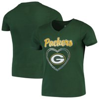Green Bay Packers Girls Youth Heart Logo V-Neck T-Shirt - Green