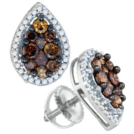 10k White Gold Round Chocolate Brown Diamond Teardrop Cluster Earrings 1.00 Cttw
