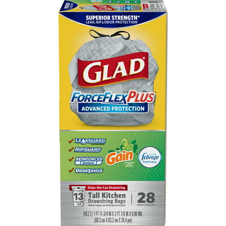 (Pack of 2) Glad ForceFlexPlus Advanced Protection Tall Kitchen Drawstring Trash Bags - Gain Original with Febreze Freshness -13 Gallon - 28 ct (Gray Tuffmade Polyliner Bags)