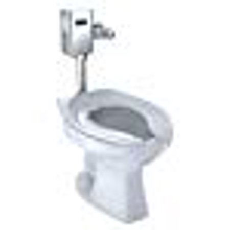 TOTO Elongated 1.0 Gpf Floor-Mounted Flushometer Toilet Bowl with Top Spud, Cotton White-CT705UN#01