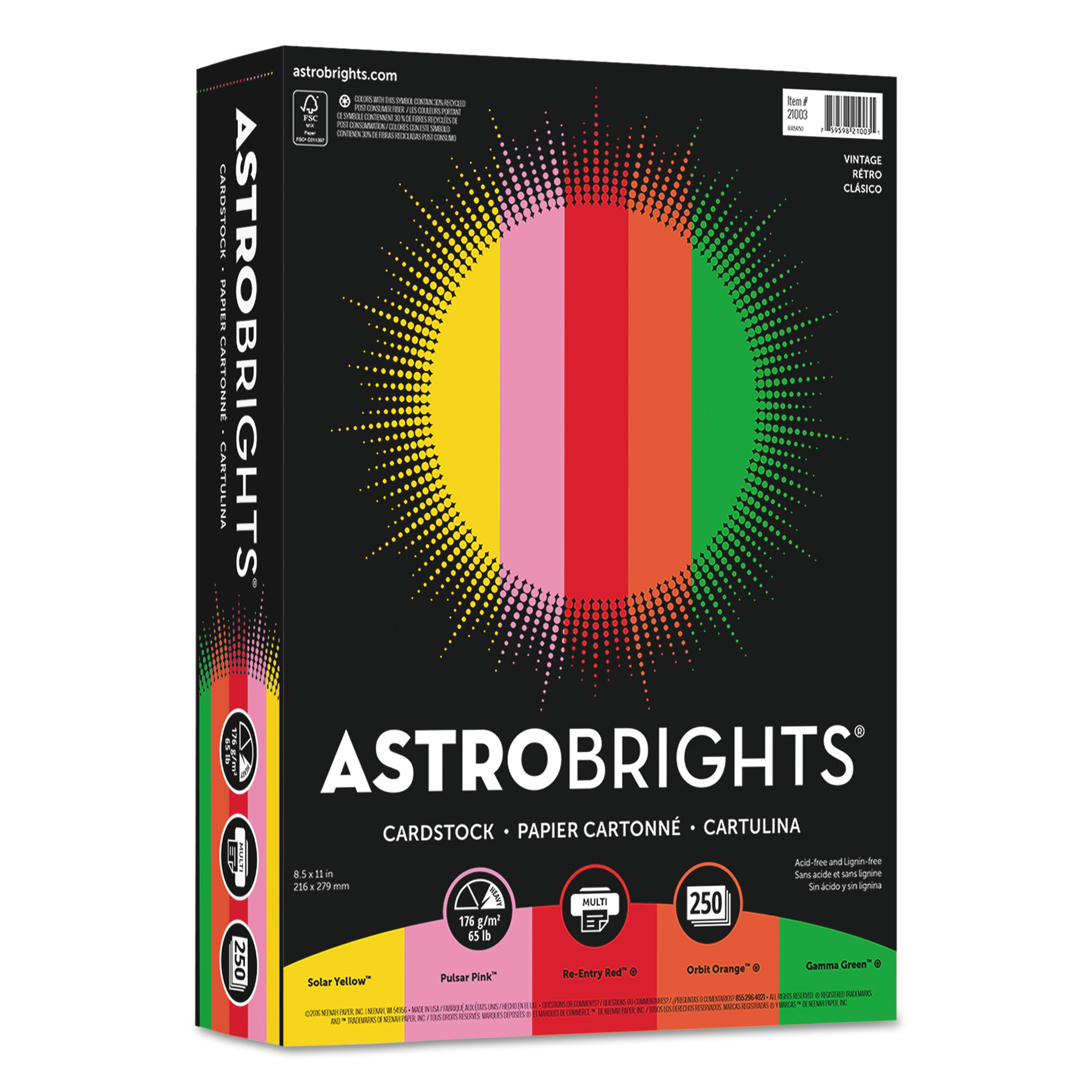 Astrobrights Color Cardstock, 65lb, 8 1/2 x 11, Assorted, 250 Sheets -WAU21003