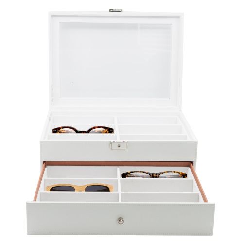12 Piece White Eyeglass Display Case for Oversized Sunglasses & Glasses Watch Organizer Collector Box