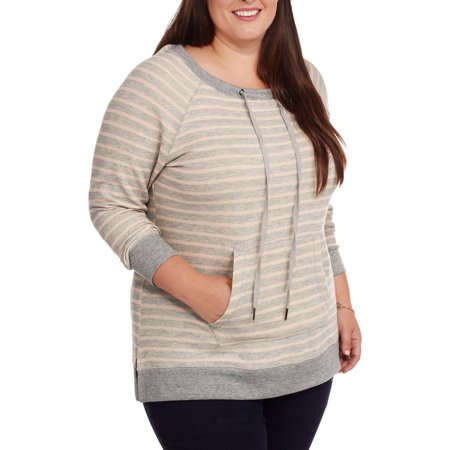 French Laundry Women's Plus Stripe Pullover with Drawstring Neckline Side Slits