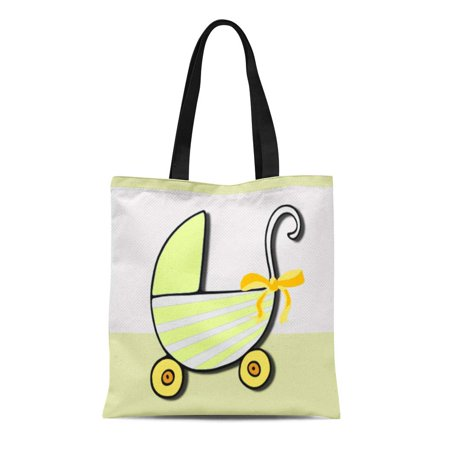 Canvas Stroller Bag (ASHLEIGH Canvas Tote Bag Yellow Carriage Welcome Baby Stroller Customizable Birth Occasion Reusable Handbag Shoulder Grocery Shopping Bags)