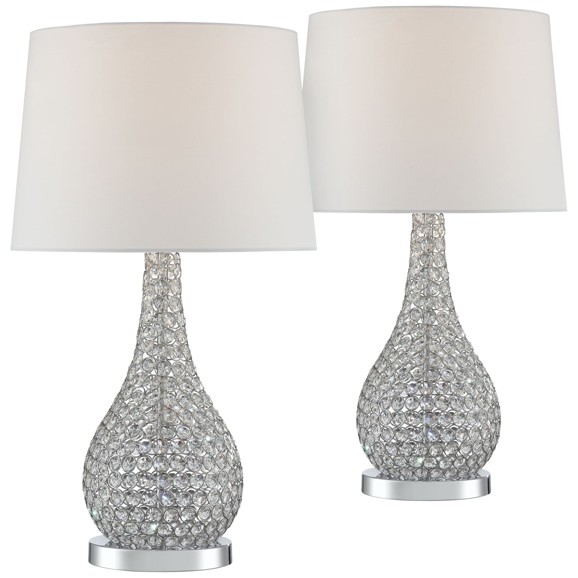 Possini Euro Design Modern Table Lamps Set Of 2 Crystal Beaded
