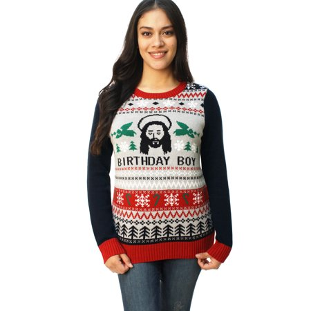 Ugly Christmas Sweater Women's Jesus Birthday Boy Pullover Sweater for $<!---->