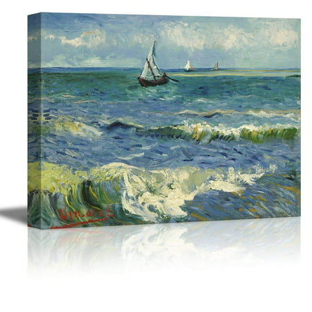 wall26 Seascape Near Les Saintes Maries De La Mer by Vincent Van Gogh - Oil Painting Reproduction on Canvas Prints Wall Art, Ready to Hang - 12x18
