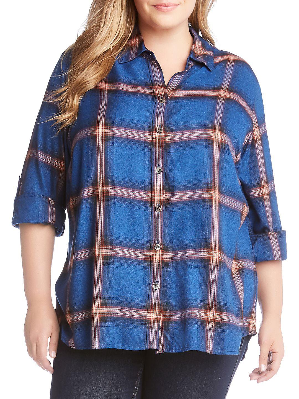 Plus Plaid Roll-Tab Button-Down Shirt