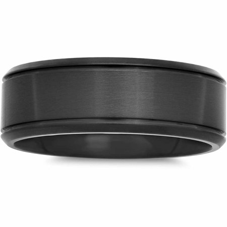 Mens Stainless Steel Black IP Satin Finish Ring, 8mm by