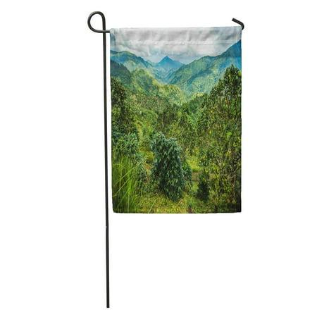 - SIDONKU Green Jamaica Blue Mountains Orange Coffee Peak Plantation Cloud Field Garden Flag Decorative Flag House Banner 12x18 inch