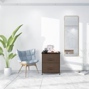 UBesGoo Dresser Tower  Bedroom Nightstand End Side Table with 2 Storage Drawers
