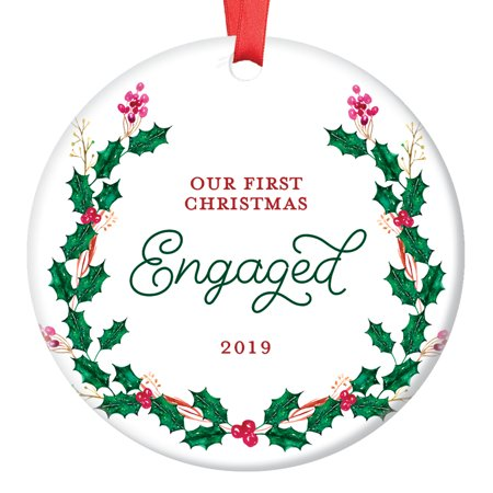 Engagement Gift, 2019 Engagement Ornament Engaged Couple Christmas Ornament, Xmas Ornaments for Him Her Bride Groom Ceramic Present 3