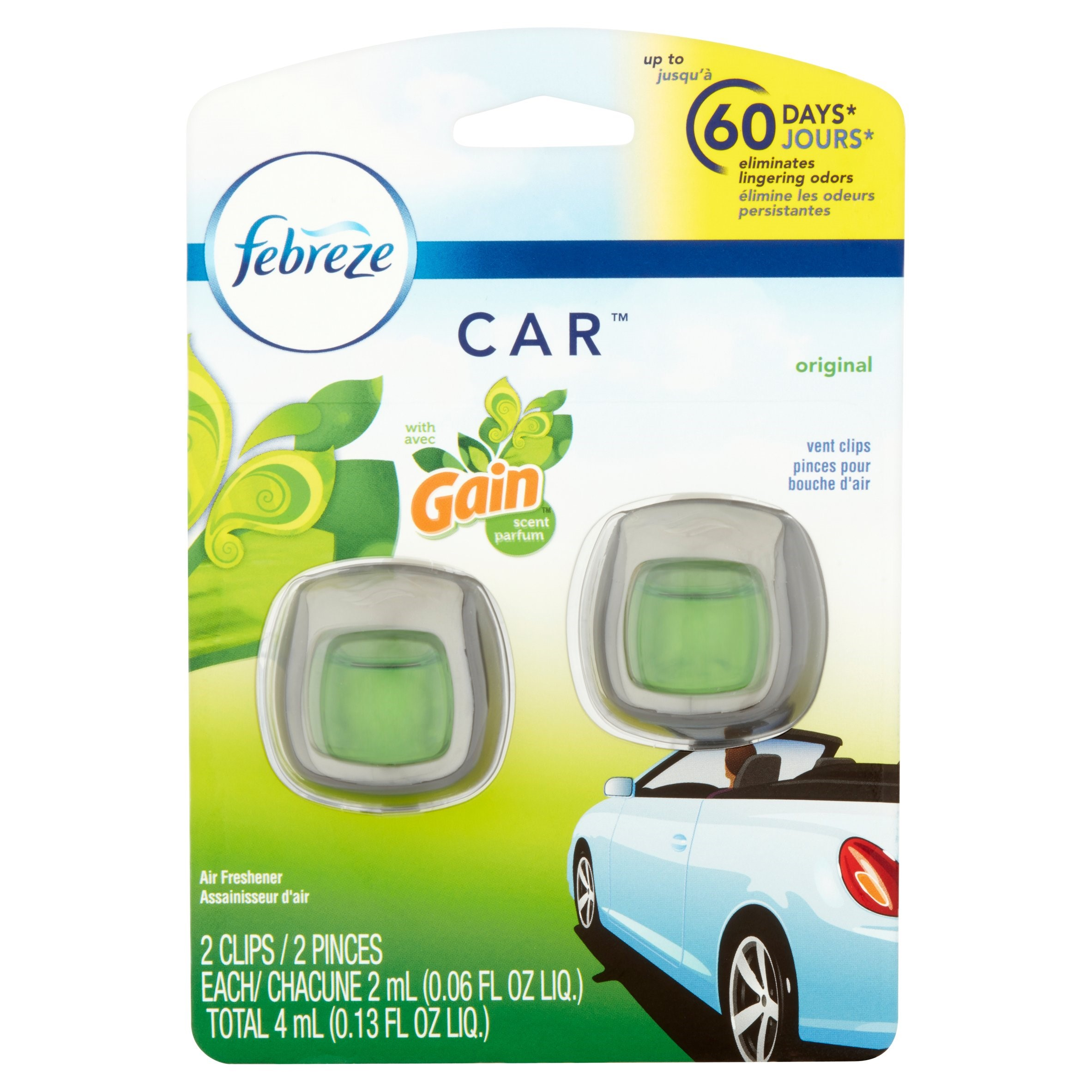 Febreze Car Air Freshener Vent Clips, Gain Original Scent, 2 count