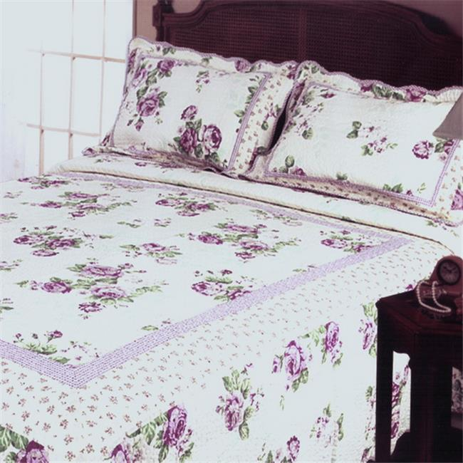 Blancho Bedding QR15-23 Rowena 3 Piece Full/Queen Floral Vermicelli Patchwork Quilt Set