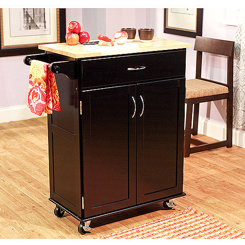 Kitchen Cart, Black with Wood Top
