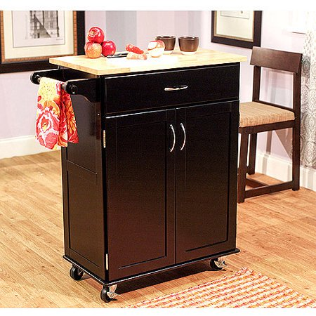 Kitchen Cart Black With Wood Top