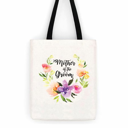 Wedding Totes (Mother of the Groom Floral Wedding Cotton Canvas Tote Bag School Day Trip)