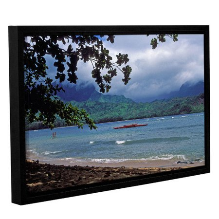 ArtWall Red Canoe on Hanalei Bay by Kathy Yates Floater Framed Photographic Print on Gallery Wrapped Canvas