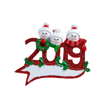 2019 Snowman Family of 3 Personalized Christmas Ornament DO-IT-YOURSELF ()