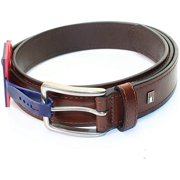 Tommy Hilfiger Silver Classic Buckle Men's Leather Belt, Tan, 44 - NEW