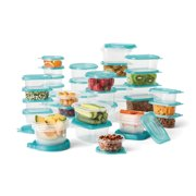 Mainstays 92 Piece Plastic Food Storage Container Set, Clear Containers, Transparent Blue Lids, Assorted Sizes - 46PK