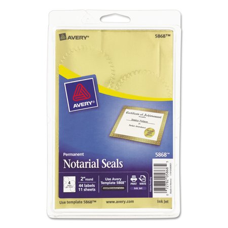 Avery(R) Metallic Gold Print or Write Notarial Seals for Inkjet Printers 5868, 2