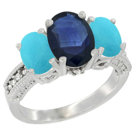 14K White Gold Diamond Natural Blue Sapphire Ring 3-Stone Oval 8x6mm with Turquoise, size 6.5