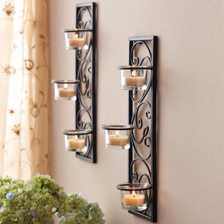 Better homes and gardens iron sconces set of 2 for Home interior 5 arm sconce