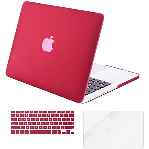 """Mosiso - 3 in 1 Macbook Retina 15 Inch Soft-Skin Plastic Hard Case Cover & Keyboard Cover & Screen Protector for Macbook Pro 15.4"""" with Retina Display (Model: A1398) No CD-ROM Drive, Marsala Red"""