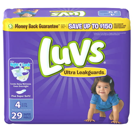 Luvs Triple Leakguards Extra Absorbent Diapers, Size 4, 29 Ct