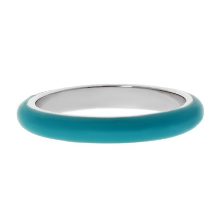 Metro Jewelry Stainless Steel Thin Ring with Blue Enamel