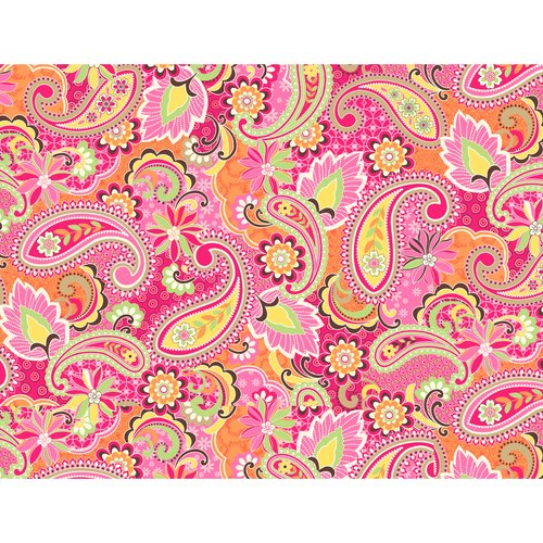 Kentshire Cotton Fabric, Paisley Coral