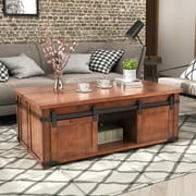 Farmhouse Coffee Table, Coffee Table with Storage Shelf and Sliding Doors Cabinets, Rustic Wooden Coffee Table End Table TV Stand, Vintage End Table for Bedroom Balcony, Living Room Furniture, W10485