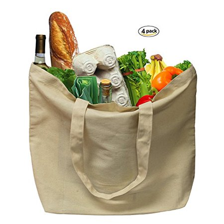 100% Organic Grocery Tote - Earthwise Organic Cotton Reusable Grocery Shopping Bags Large Machine Washable 18âW x 14.25âH (Pack of 4)