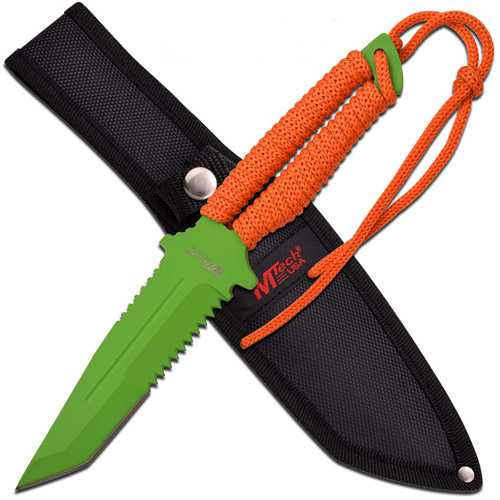 """M-Tech 10.5"""" Green Painted Fixed-Blade Knife, Orange Handle"""