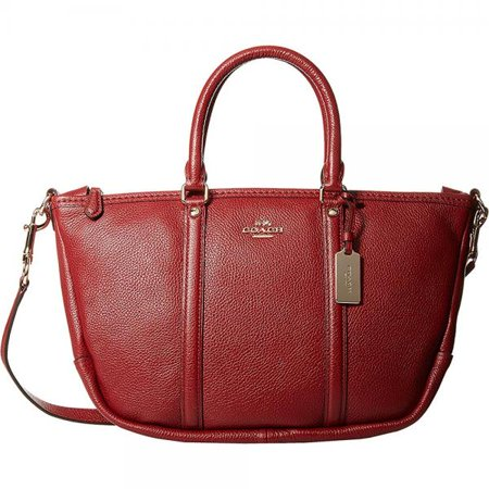 Coach Womens Pebbled Small Coach Central Satchel Li Black Cherry Satchel