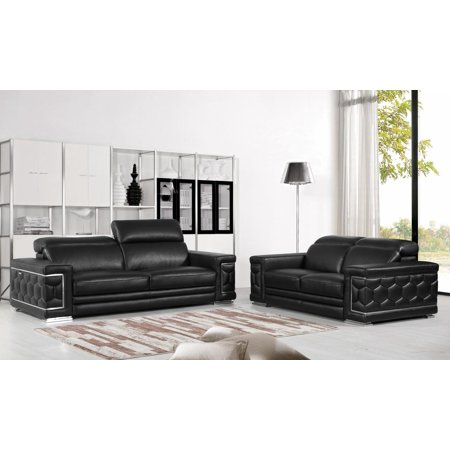 Global Furniture 692 Contemporary Black Genuine Italian Leather Sofa Set 2  Pcs