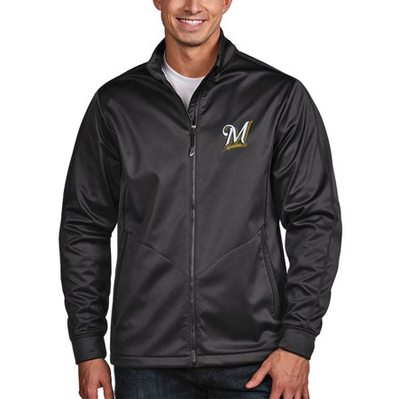 Milwaukee Brewers Antigua Golf Full-Zip Jacket - Charcoal (Antigua Golf Vest)