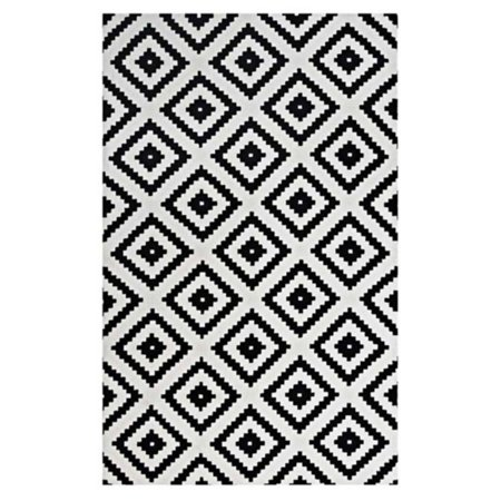 Modway Alika Abstract Diamond Trellis 5x8 Area Rug in Black and White ()