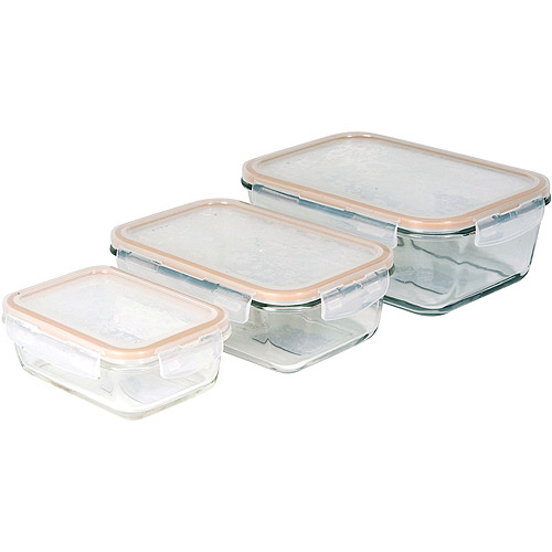 Lock Lock 6 Piece Glass Food Storage Set Walmartcom